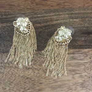 Gold Lion Tassel Earrings NEW